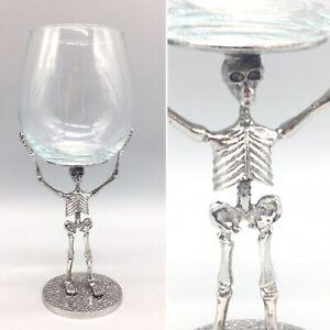 Halloween Skeleton Wine Glass Goblet Silver Metal Stem Gothic Skull Bones Dead