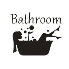 Bathroom Quote Wall Sticker Restroom Toilet Door Sign Art Decal DIY Decor  Plsei