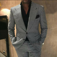 Business Men Suits Slim Fit Houndstooth Tweed Coats Blazer Tuxedos Work Groom