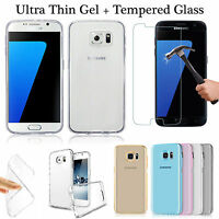 Tpu Gel Case + Tempered Glass Screen Protector For Samsung A3 2016 J3 J5 S5 S6