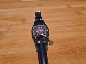 Armbanduhr - s.Oliver - Echtleder-Armband - dunkelviolett - Kleeblattanhänger