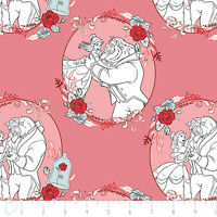 Disney Beauty & the Beast Belle Love Dusty Pink 100% Cotton fabric by the yard