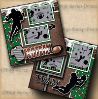 FOOTBALL ~ BOY SPORTS 2 premade scrapbook pages paper piecing LAYOUT ~ DIGISCRAP