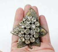 Vintage Estate Clear Rhinestone Leaf Brooch 3 Dimensional