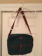 Ralph Lauren Polo Duffle Laptop Bag Overnight Travel Weekender Green Canvas!