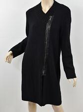 CHICO'S Black Faux Leather Trim MELIA LONG MOTO ZIP CARDIGAN Chunky Sweater S 0