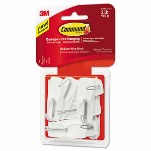 1 Pack 3M Command 7 Medium Wire Hooks & 8 Adhesive Strips Per Pack Max 2 lb