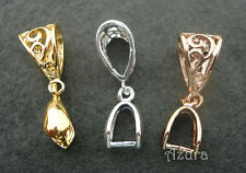 Large Silver, Gold, Rose Gold Plated 27mm Filigree Hollow Pinch Bail Connectors