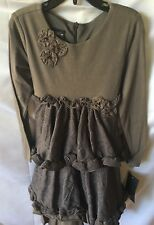 Isobella and Chloe Girls Taupe Tiered Party Dress Size 6X-New