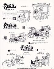VINTAGE AD SHEET #3456 - 1983 MATTEL - BARBIE DREAM BED - FURNITURE