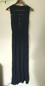Just Jeans navy zip front maxi dress with waist tie - size 10