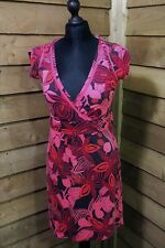 Fat Face Casual Bold Floral Wrap Styled Dress Pink 10UK