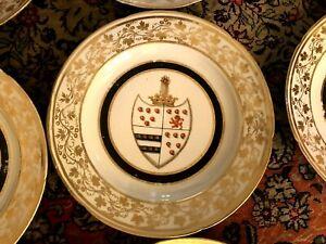 10 Antique HP Heraldry Crest Coat Arms Bear Paw Lion Emblem Shield Crown Plates
