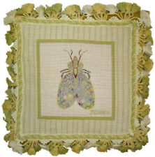 """12"""" x 12"""" Handmade Wool Needlepoint Petit Point Bee Pillow with Tassels"""