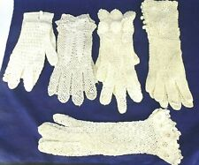 5 Antique Edwardian Unworn Hand Made Small Crocheted Embroidered Lace Gloves