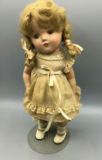 """Antique Composition Doll looks like Shirley Temple not marked~13"""" original dress"""