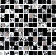 Mosaico piastrella vetro miscela nero/argento muro bagno: 63-CM-426_b | 1 foglio