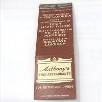 Vintage Matchbook Anthonys Fine Restaurants  Boston Massachusetts Advertisement
