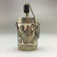 OLD TIBET SILVER CARVED EIGHT DIAGRAMS & BIRD SNUFF BOTTLES