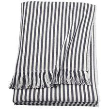 IKEA TUVALIE Plaid Tagesdecke Fleecedecke Decke gestreift weiß, dunkelgrau NEU