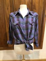 Womens Sz XL Wrangler Multi Purple Western Long Sleeve Pearly Snap Down Shirt
