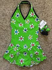 Icings NWT GREEN DAISY Halter Ice Figure Roller Skating Dress CXS