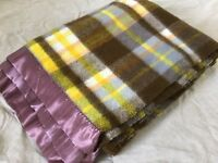 Vtg Thermal Acrylic Brown and Yellow Plaid Blanket Satin Trim 82 x 64 Inches