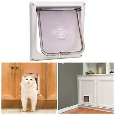 Interior Cat Door For Cats Up to 15lbs 2-Way Lock Clear Hard Flap Plastic Frame
