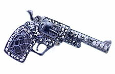 Adjustable punk style black gun pistol stretch ring with crystal