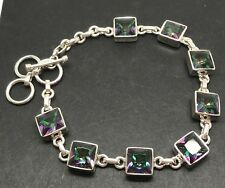 Mystic topaz bracelet, solid Sterling silver, square, new, actual one, UK