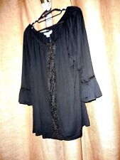 Rockmans BNWT Size XL Black 3/4 Bell Sleeve Lace Front Top RRP $ 49.99