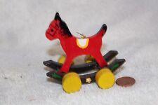 Vintage wood Christmas ornament Rocking horse on wheels