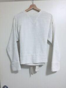 BASSIKE tie-back detail terry towelling sweatshirt top white long-sleeve, 0 XS S