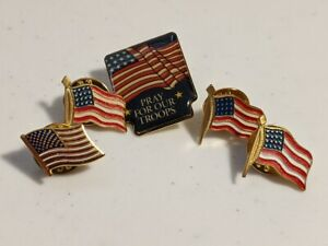 Lot of 5 Vintage American Flag lapel Pins