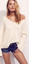 NWT Free People Anthropologie Womens Oversized La Brea V Neck Sweater Cream Sz L