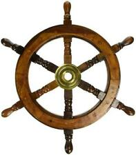 "18"" Ship Wheel Wooden: Pirate  Captain Boat Gaston Turcotte Carved Decor handmad"