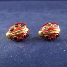 Lovely Ladybug Post Earrings, Enamel on Gold Tone Metal by Avon (1047)