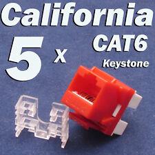 5 Pcs Lot CAT6 Keystone 8P8C RJ45 Network 110 Style Socket Punch Down Jack Red