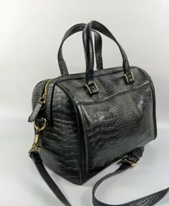 Reiss Black Reptile Print Cow Leather Small Holdall handbag  32cm x 24cm
