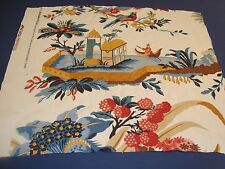 """Remnant BRUNSCHWIG FILS CHINOISE LE LAC LINEN DRAPERY FABRIC 24"""" x 27"""" Red Blue"""