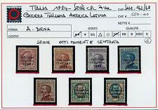 1924 Regno Crociera Italiana in America Latina  Bolaffi n. 297/303/7 val. LUSSO