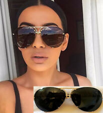 Black & Gold Oversized Aviator Sunglasses Flat Top Big Large Luxury Mirrored