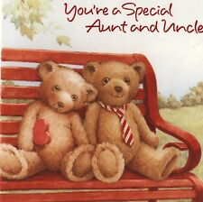 """VALENTINE'S DAY....ROMANTIC BEARS,""""SPECIAL AUNT & UNCLE"""" VINTAGE GREETING CARD"""
