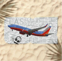 Southwest Airlines Boeing 737 with Airport Codes -  Beach Towel