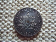 FRANCE 1902 2 FRANCS SILVER COIN. THIRD REPUBLIC 10g., 27mm.