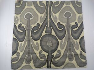 "Pottery Barn Kenmare Ikat Embroidered Pillow Cover 24"" Gray #9198"