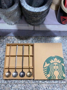 4X Limited Edition Starbucks Coffee Spoons Mug Stainless Steel Bar Cup Spoon Set