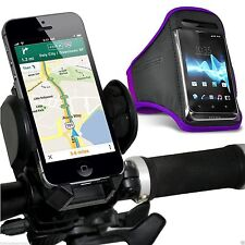 Quality Bike Bicycle Handlebar Phone Holder+Sports Armband Case Cover✔Purple