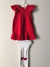 H-Girls OLD NAVY SHORT SLEEVE dress Size 12-18 M WITH TIGHTS RED SWEATER