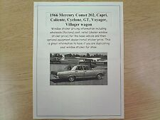 1966 Mercury Comet cost/dealer retail sticker pricing for car + options $